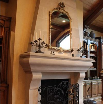 indiana cut stone fireplace surround