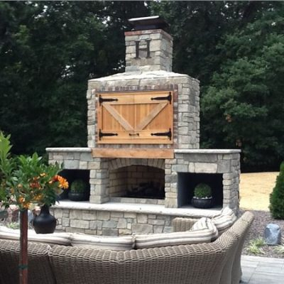Outdoor Natural Stone Fireplace
