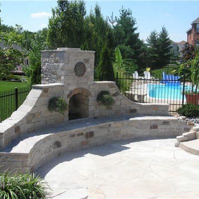 natural stone veneer fireplace
