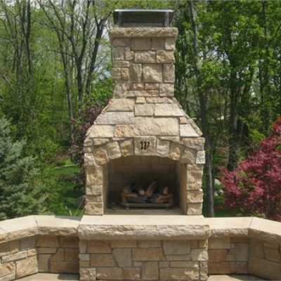 ew gold natural stone fireplace