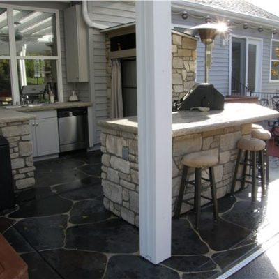 country villa tumbled outdoor kitchen