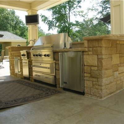 ew gold snapped veneer outdoor kitchen