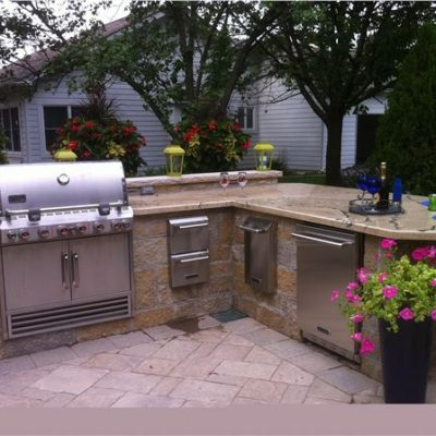 ew gold stone outdoor kitchen