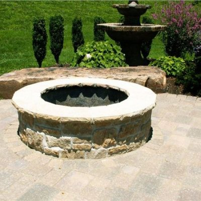 stone fire pit wood