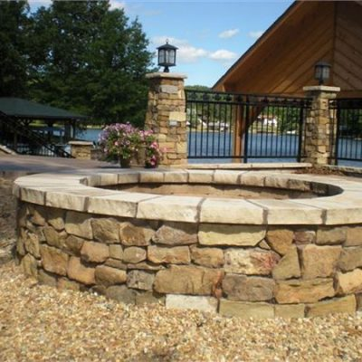 split weathered fieldstone firepit