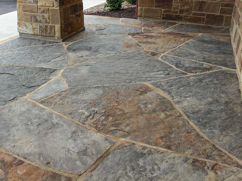 Flagstone Patio With Stone : Shawnee blue brown flagstone steppers earthworks