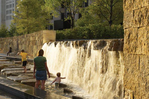 Custom EW Gold Arc Wall at City Garden Waterfall in St. Louis, MO